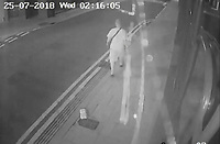 Pictured: CCTV image showing Damion Harris walking in Aberystwyth<br /> Re: A man who killed a hotel guest after setting fire to his hotel, by lighting curtains and a linen cupboard, is due to be sentenced by Swansea Crown Court.<br /> 31 year old Damion Harris, of Llanbadarn Fawr, west Wales, admitted the manslaughter of Juozas Tunaitis, arson and inflicting grievous bodily harm.<br /> Belgrave House Hotel (Ty Belgrave Hotel) in Aberystwyth, Ceredigion was burned down in July 2018