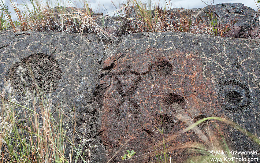 Petroglyphs at the Pu'u Loa Petroglyph Field in Hawaii Volcanoes National Park, Big Island, Hawaii