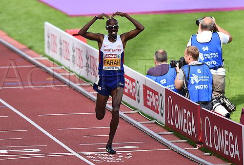 17.08.2014. Zurich, Switzerland. European Athletics Championships 2014 at the Letzigrund stadium in Zurich, Switzerland.  Final 5000m mens shows the winner, Mohamed Farah (GBR)