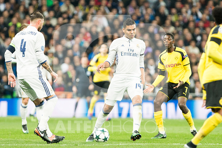 Borussia Dortmund Ousmane Cembele Real Madrid's Carlos Henrique Casemiro during Champions League match between Real Madrid and Borussia Dortmund  at Santiago Bernabeu Stadium in Madrid , Spain. December 07, 2016. (ALTERPHOTOS/Rodrigo Jimenez)