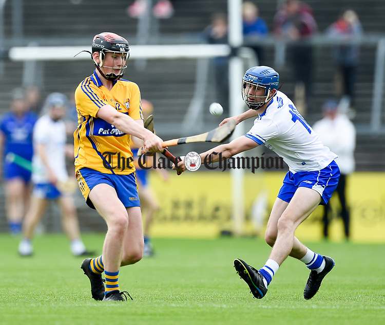 William Halpin of Clare  in action against Paddy Leevy of Waterford during their Munster  championship round robin game at Cusack Park Photograph by John Kelly.