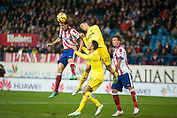 Atletico de Madrid´s Diego Godin and Villarreal´s Gabriel during 2014-15 La Liga match between Atletico de Madrid and Villarreal at Vicente Calderon stadium in Madrid, Spain. December 14, 2014. (ALTERPHOTOS/Luis Fernandez) /NortePhoto