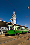 California: San Francisco. Historic trolley car at Ferry Building, Embarcadero. Photo copyright Lee Foster. Photo #: san-francisco-trolley-car-19-casanf79145