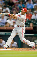 Philadelphia Phillies outfielder Raul Ibanez #29 swings during the Major League Baseball game against the Houston Astros at Minute Maid Park in Houston, Texas on September 12, 2011. Houston defeated Philadelphia 5-1.  (Andrew Woolley/Four Seam Images)