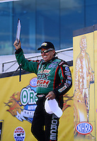 Sept. 14, 2012; Concord, NC, USA: NHRA funny car driver John Force during qualifying for the O'Reilly Auto Parts Nationals at zMax Dragway. Mandatory Credit: Mark J. Rebilas-