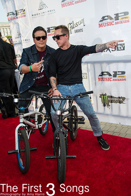 Ryan Key and Sean Mackin of Yellowcard attend the 2014 AP Music Awards at the Rock And Roll Hall Of Fame and Museum at North Coast Harbor in Cleveland, Ohio.