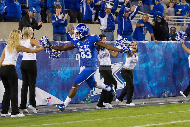 DeMarcus Sweat, freshman wide reciever celebrating after a touchdown during the second half of the UK vs. Kent State football game at Commonwealth Stadium, Photo by Adam Chaffins