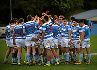The Silverstream team huddles during the Weltec Premiership Wellington secondary schools 1st XV rugby final between St Patrick's College Silverstream and Wellington College at Porirua Park in Wellington, New Zealand on Sunday, 20 August 2017. Photo: Dave Lintott / lintottphoto.co.nz
