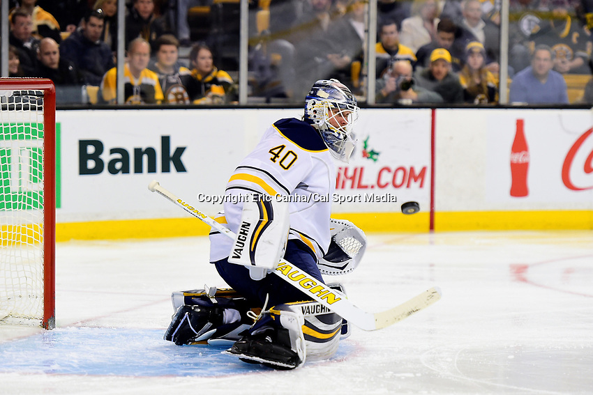 Saturday, December 31, 2016: Buffalo Sabres goalie Robin Lehner (40) watches the puck during the National Hockey League game between the Buffalo Sabres and the Boston Bruins held at TD Garden, in Boston, Mass. Boston defeats Buffalo 3-1.  Eric Canha/CSM