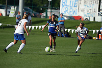 Kansas City, MO - Sunday August 28, 2016: Kathryn Schoepfer, Mandy Laddish, Stephanie Verdoia during a regular season National Women's Soccer League (NWSL) match between FC Kansas City and the Boston Breakers at Swope Soccer Village.