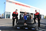 Eoin Kelly, Cillian Duffy, with Irena svarcburga<br /> at the Opening of First stop in the Donore road retail park.<br /> Picture:  Fran Caffrey / www.newsfile.ie