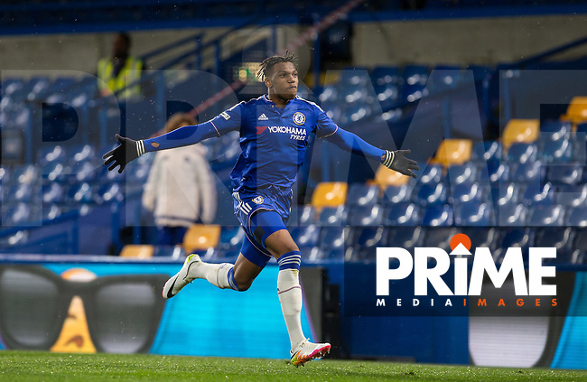 Dujon Sterling of Chelsea U18 celebrates the first goal during the FA Youth Cup FINAL match between Chelsea U18 and Man City U18 at Stamford Bridge, London, England on 27 April 2016. Photo by Andy Rowland.