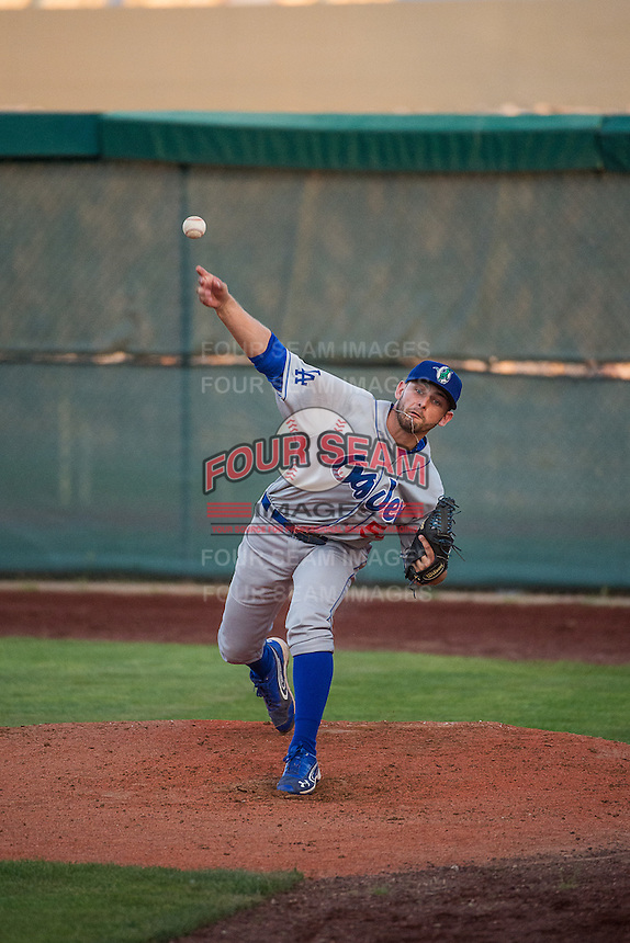 MJ Villegas (55) of the Ogden Raptors warms up in the bullpen during the game against the Orem Owlz in Pioneer League action at Home of the Owlz on June 20, 2015 in Provo, Utah. The Raptors defeated the Owlz 9-6. (Stephen Smith/Four Seam Images)