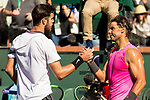 March 15, 2019: Rafael Nadal (ESP) and Karen Khachanov (RUS) shake hands after their match. Nadal defeated Khachanov 7-6, 7-6 at the BNP Paribas Open at the Indian Wells Tennis Garden in Indian Wells, California. ©Mal Taam/TennisClix/CSM