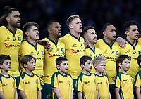 The Australia players sing the national anthem during the Rugby Championship match between Australia and New Zealand at Optus Stadium in Perth, Australia on August 10, 2019 . Photo: Gary Day / Frozen In Motion