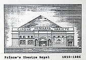 The Prince's Theatre Royal, Glasgow, a copy of one of the images gifted by actor Tony Roper to the Britannia Panoptican in Glasgow, after he presented the long-lost variety music hall with some ink drawings of old Glasgow theatres. The framed collection was given to Roper by the family of Ricki Fulton - picture by Donald MacLeod 05.03.09