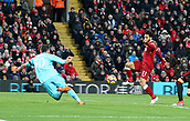17th March 2018, Anfield, Liverpool, England; EPL Premier League football, Liverpool versus Watford; Mohammed Salah of Liverpool scores his second goal of the match to gives his side a 2-0 lead