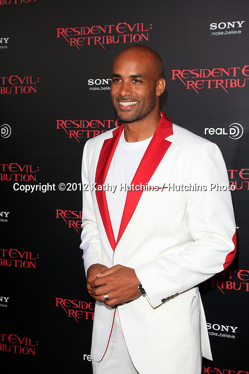 "LOS ANGELES - SEP 12:  Boris Kodjoe arrives at the ""Resident Evil: Retribution"" Premiere at Regal Cinemas L.A. Live on September 12, 2012 in Los Angeles, CA"
