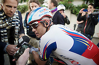 Alexander Kristoff (NOR/Katusha) interviewed immediately after finishing 2nd<br /> <br /> 106th Milano - San Remo 2015