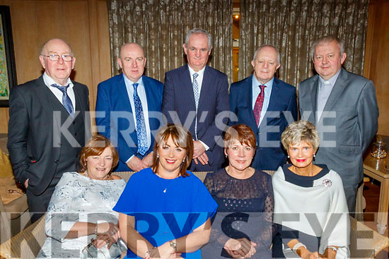 Seated L-R Pat Daly, Mary Mangan, Ester O'Sullivan and Kathleen Dwyre, back L-R John Daly, Jerry Dwyre, Mike Mangan, John O'Sullivan with Fr Tadgh Fitzgerald attending the Lee Strand social last Saturday night in the Ballygarry House hotel, Tralee.