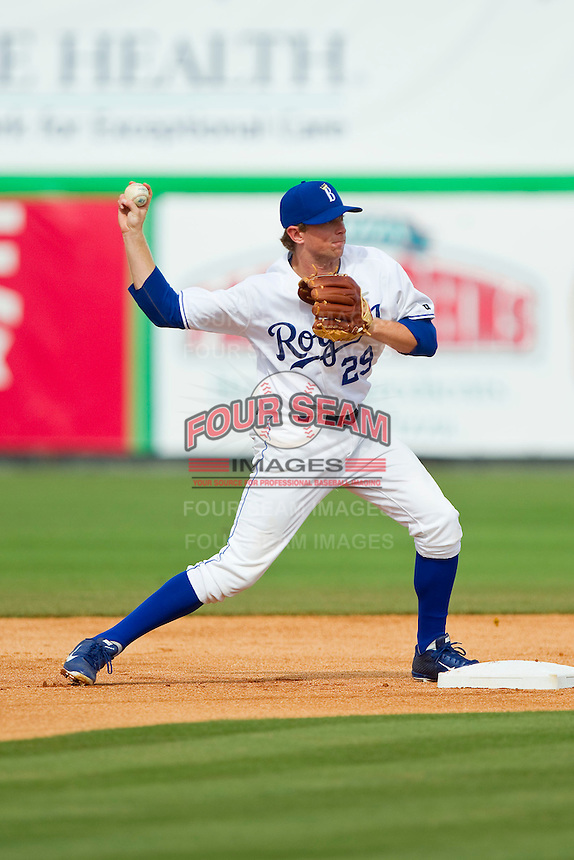 Burlington Royals second baseman Kevin Kuntz (29) makes a throw to first base to complete a double play against the Greeneville Astros at Burlington Athletic Park on July 1, 2013 in Burlington, North Carolina.  The Astros defeated the Royals 7-0 in Game One of a doubleheader.  (Brian Westerholt/Four Seam Images)
