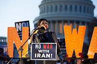 United States Representative Rashida Tlaib (Democrat of Michigan) speaks to demonstrators outside the United States Capitol in Washington D.C., U.S., on Thursday, January 9, 2020, to oppose a war with Iran as the United States House of Representatives convenes to vote on a war powers resolution that would mandate United States President Donald J. Trump receive congressional authorization for any future military action taken toward Iran.<br /> <br /> Credit: Stefani Reynolds / CNP/AdMedia