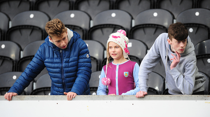 Burnley fans during the pre-match warm-up <br /> <br /> Photographer Chris Vaughan/CameraSport<br /> <br /> Football - The Football League Sky Bet Championship - Hull City v Burnley - Saturday 26th December 2015 - Kingston Communications Stadium - Hull<br /> <br /> &copy; CameraSport - 43 Linden Ave. Countesthorpe. Leicester. England. LE8 5PG - Tel: +44 (0) 116 277 4147 - admin@camerasport.com - www.camerasport.com