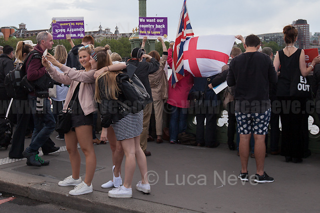 """Young...<br /> <br /> London, 15/06/2016. Today, the River Thames outside the Houses of Parliament was the stage of an epic """"naval battle"""" between the """"Brexit Flotilla"""", lead by the UKIP leader Nigel Farage MEP, and the """"In Flotilla"""", lead by the Irish singer-songwriter Bob Geldof KBE. Nigel Farage MEP lead a flotilla of fishing trawlers from Southend in Essex sailing to the River Thames in front of the British Parliament to call for the UK's withdrawal from the EU and to repossess """"our water back"""". The protest and the counter protest were set to coincide with Prime Minister David Cameron question time.<br /> <br /> For more information about the """"Leave the EU"""" campaigns (for Brexit) please click here:  http://leave.eu/ & http://www.voteleavetakecontrol.org/<br /> <br /> For more information about the """"Remain In the EU"""" campaign (to stay in the EU) please click here: http://www.strongerin.co.uk/"""