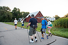 August 19, 2017; On day 6, pilgrims make the 15.6 mile trek on foot on the ND Trail from Lafayette to Tippecanoe Battlefield Park in Battle Ground, Indiana. As part of the University's 175th anniversary celebration, the Notre Dame Trail will commemorate Father Sorin and the Holy Cross Brothers' journey. A small group of pilgrims will make the entire 300+ mile journey from Vincennes to Notre Dame over  two weeks.(Photo by Barbara Johnston/University of Notre Dame)