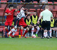 Grimsby Town's Dominic Vose tangles with Leyton Orient's Michael Collins during the Sky Bet League 2 match between Leyton Orient and Grimsby Town at the Matchroom Stadium, London, England on 11 March 2017. Photo by Carlton Myrie / PRiME Media Images.