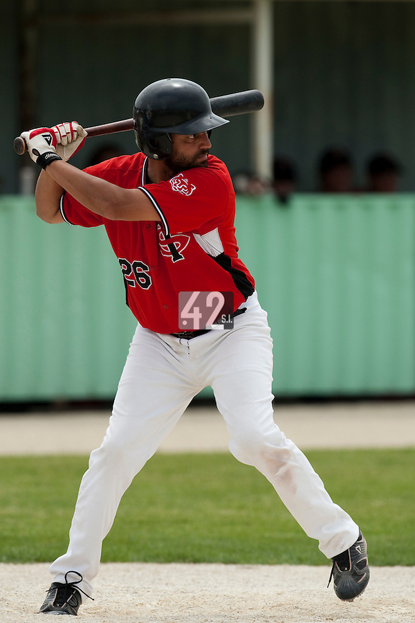 21 May 2009: Jamel Boutagra of Toulouse is seen at bat during the 2009 challenge de France, a tournament with the best French baseball teams - all eight elite league clubs - to determine a spot in the European Cup next year, at Montpellier, France.