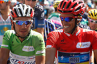 Joaquin Purito Rodriguez (l) and Alberto Contador before the stage of La Vuelta 2012 beetwen Penafiel-La Lastrilla.September 7,2012. (ALTERPHOTOS/Paola Otero) /NortePhoto.com<br /> <br /> **CREDITO*OBLIGATORIO** *No*Venta*A*Terceros*<br /> *No*Sale*So*third* ***No*Se*Permite*Hacer Archivo***No*Sale*So*third