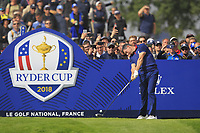 Rory McIlroy (Team Europe) on the 4th tee during the Friday Foursomes at the Ryder Cup, Le Golf National, Ile-de-France, France. 28/09/2018.<br /> Picture Thos Caffrey / Golffile.ie<br /> <br /> All photo usage must carry mandatory copyright credit (&copy; Golffile | Thos Caffrey)