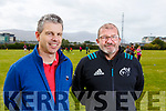 Tag Rugby Organiser John Creagh from Colaiste Gleann Li with Munster Rugby Co-ordinator Ray Gadsden at the at the KETB Schools Senior Cycle Tag Rugby blitz in the Kerry Sports and Leisure Centre, Tralee on Monday.