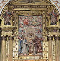 Detail of Retable of main Altar, Convento de Santa Teresa,(Convent of St Teresa), 1629-36,  Avila, Spain, built in Baroque style on the site of St Teresa's birthplace by architect and monk Alonso de san Jose (1600-54). The altar depicts Santa Teresa (1515-82), Carmelite nun, canonized 1622. Photograph by Manuel Cohen.