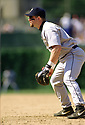 CIRCA 1997: Jeff Bagwell #5 of the Houston Astros fielding during a game from his 1997 season against the Chicago Cubs. Jeff Bagwell played for 15 seasons, all with the Houston Astros, was a 4-time All-Star and was inducted to the Baseball Hall of Fame in 2017.(Photo by: 1997 SportPics)  *** Local Caption *** Jeff Bagwell