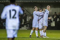 Monday  19 December 2014<br /> Pictured: Oliver McBernie of Swansea City  Celebrates his goal <br /> Re: Swansea City U23 v Middlesbrough u23 at the Landore Training Facility, Swansea, Wales, UK