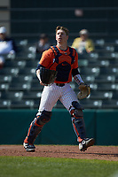 Illinois Fighting Illini catcher Jacob Campbell (9) on defense against the West Virginia Mountaineers at TicketReturn.com Field at Pelicans Ballpark on February 23, 2020 in Myrtle Beach, South Carolina. The Fighting Illini defeated the Mountaineers 2-1.  (Brian Westerholt/Four Seam Images)