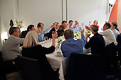 "Feb. 17, 2011.""The President joins a toast with technology business leaders at a dinner in Woodside, California.  Among those attending were the late Steve Jobs, to the President's left, and Facebook founder Mark Zuckerberg, to the President's right."".Mandatory Credit: Pete Souza - White House via CNP"
