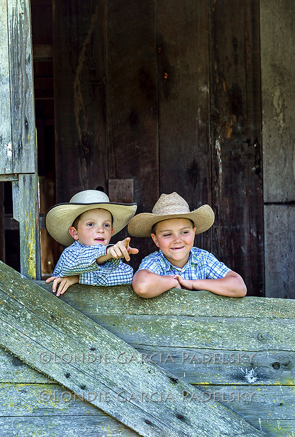 Evan and Ethan at the barn. The ranch in San Luis Obispo, California