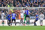 04.11.2018, Sch&uuml;coArena / Schueco Arena, Bielefeld, Deutschland, GER, 2. FBL, DSC Arminia Bielefeld vs. FC St. Pauli<br /> <br /> DFL REGULATIONS PROHIBIT ANY USE OF PHOTOGRAPHS AS IMAGE SEQUENCES AND/OR QUASI-VIDEO.<br /> <br /> im Bild Kopfball / Torchance Fabian Klos (#9 Bielefeld) / Zweikampf gegen Florian Carstens (#38 St. Pauli)<br /> <br /> Foto &copy; nordphoto / Kurth