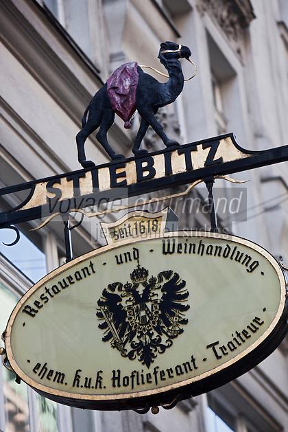 Europe/Autriche/Niederösterreich/Vienne: Enseigne du  Restaurant Stiebitz
