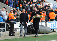 Pete Nicholson (right) carries flowers with Alan Ainscow in memory of Fred Pickering<br /> <br /> Photographer Kevin Barnes/CameraSport<br /> <br /> The EFL Sky Bet League One - Blackpool v Oxford United - Saturday 23rd February 2019 - Bloomfield Road - Blackpool<br /> <br /> World Copyright © 2019 CameraSport. All rights reserved. 43 Linden Ave. Countesthorpe. Leicester. England. LE8 5PG - Tel: +44 (0) 116 277 4147 - admin@camerasport.com - www.camerasport.com