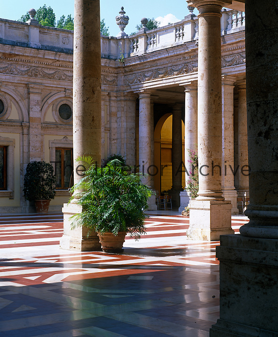 View from the neo-renaissance colonnade which surrounds the courtyard in the Tettuccio spa