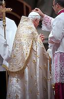 Pope Benedict XVI celebrates the Vespers and Te Deum prayers in Saint Peter's Basilica at the Vatican on December 31, 2011.