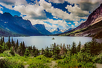 One of the iconic vistas in North America, Wild Goose Island in St. Mary' s Lake, Glacier National Park, Montana.