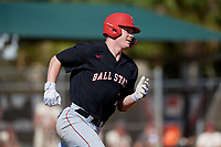 Ball State Cardinals first baseman Griffin Hulecki (13) runs to first base during a game against the Saint Joseph's Hawks on March 9, 2019 at North Charlotte Regional Park in Port Charlotte, Florida.  Ball State defeated Saint Joseph's 7-5.  (Mike Janes/Four Seam Images)