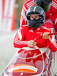18 December 2010: Patrice Servelle starts up his 2-man bobsled for Monaco, finishing in 9th place at the Viessmann FIBT World Cup Bobsled Championships on Mount Van Hoevenberg in Lake Placid, New York, USA. Mandatory Credit: Ed Wolfstein Photo