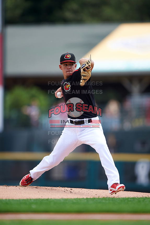 Rochester Red Wings starting pitcher Jose Berrios (16) during a game against the Norfolk Tides on July 17, 2016 at Frontier Field in Rochester, New York.  Rochester defeated Norfolk 3-2.  (Mike Janes/Four Seam Images)