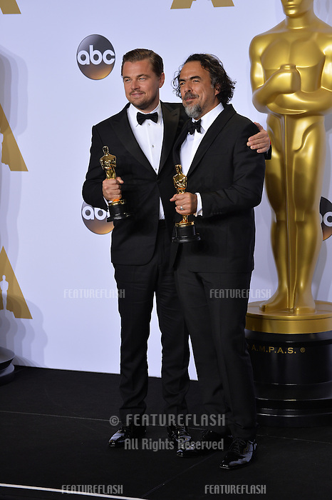 Leonardo DiCaprio & Alejandro G. Inarritu at the 88th Academy Awards at the Dolby Theatre, Hollywood.<br /> February 28, 2016  Los Angeles, CA<br /> Picture: Paul Smith / Featureflash